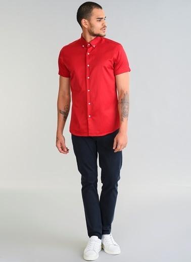 People By Fabrika Kısa Kollu Gömlek Kırmızı